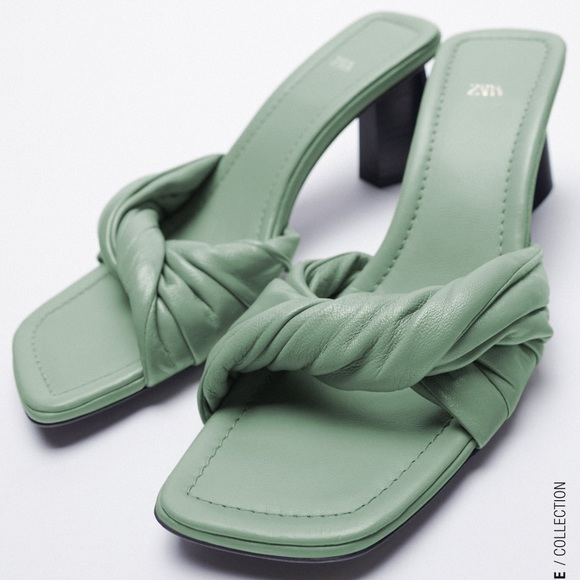 Zara knotted leather heeled sandals